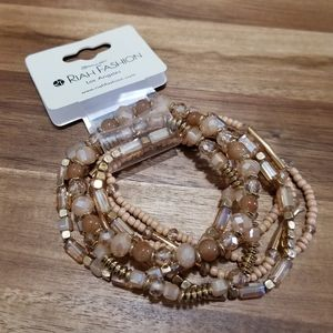 Riah Fashion Beaded Stretch Bracelet Set Tan Beige